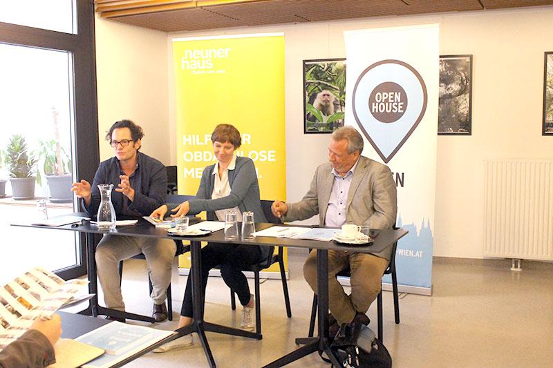Pressekonferenz (v.l.n.r. Markus Reiter, Iris Kaltenegger, Michael Gehbauer)